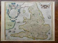 1573 Ortelius Lhuyd Map England Wales Genuine Antique Old Ireland Scotland 1575?