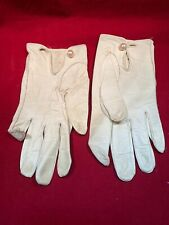 """Vintage Ivory or Cream Kid Leather Wrist Length Gloves 8"""" w/Cutouts Size 6 1/2"""