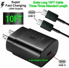 25w Type USB-C Super Fast Wall Charger+10FT Cable For Samsung Galaxy S20 S21 5G