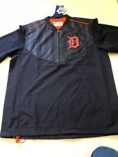 New Mens Majestic Detroit Tigers Cool Base Training Pullover Jacket Medium