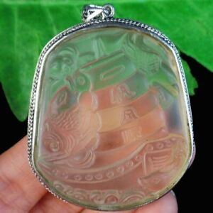 Carved Brown Titanium Crystal Wrap Tibetan Silver Ship Pendant Bead W60384