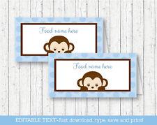 Mod Pop Monkey Blue Buffet Tent Cards & Place Cards Editable PDF