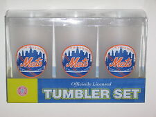 New York Mets 19 oz. Team Logo Acrylic Frosted Tumbler Cups (Set of 3)