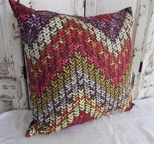 'PURL' Red/Yellow/Purple/Tan European Cushion Cover 60cm