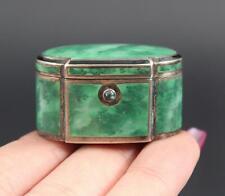 Miniature Antique 19thC Continental Silver, Faux Malachite Enamel Pill Box