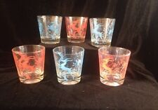 Vintage Federal Glass GAZELLE Low Old Fashioned Glasses Lot of 6 -3 Red 3 Blue