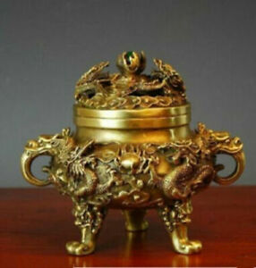 Collectible Chinese decorative type manual Brass Kowloon Dragon incense burner
