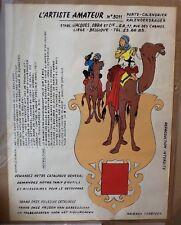 Superbe affiche TINTIN 1954 porte calendrier a monté ets J OBRA liège