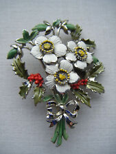 Vintage Exquisite Birthday Brooch pin Christmas Rose Enamel Flower Signed