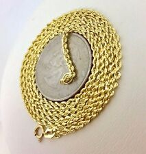 "14k Real Yellow Gold Rope Chain Necklace 24"" 2mm  Men Women Twisted Rope Chain"