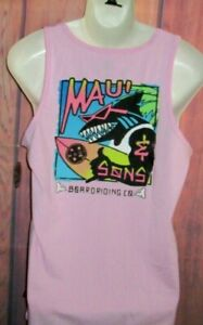 MENS MAUI AND SONS SHARK PINK TANK TOP T-SHIRT SIZE M