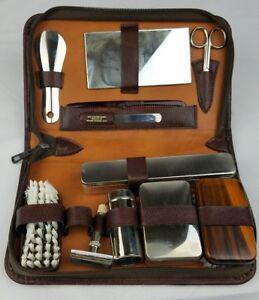 Vintage men travel grooming kit vanity case toiletry zip up case Western Germany