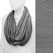 Gray Infinity Loop Scarf Soft Jersey Knit Wrap Fashion Accessory