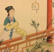 Vintage Asian Oriental Painting On Silk Pretty Lady Bird Kimono Signed Art