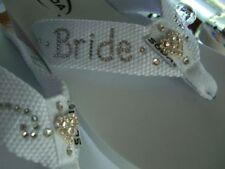 Bride, Wedding, Beach Custom Flip Flops  wedge or flat crystal wording. 5 1/2-12