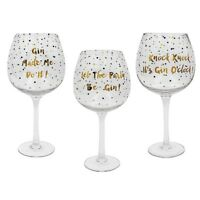 Gold Edition Gin Balloon Glass With Slogan Gift Boxed Free P&P