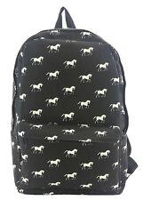 Horse Print Equestrian Inspired Canvas Backpack Satchel Bag