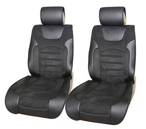 2 Non-Slip Front Black Suede Car Seat Covers Volkswagen #8021