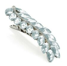 Small Silver Jewelled Leaf Hair Clip Barrette