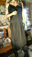 VTG 50'S VANITY FAIR SZ 40 TALL PIN UP BLACK NIGHTIE FULL SILKY NYLON TRICOT