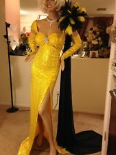 DRAG QUEEN SEXY yellow gold  sequins  stage Dress Gown  XXL - XXXL TALL