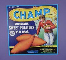 c1940's Champ Sweet Potatoes Label - American Football - Original Unused Stock