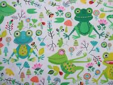 """Frog Cartoon Reptile Childrens Timeless Treasures Cotton Fabric 30"""" Remnant SALE"""