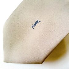 Vintage Yves Saint Laurent Mens Tie Monogram YSL Paris Deep Beige Solid Tone