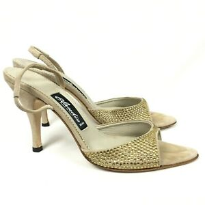 Claudio Milano Womens Shoes Gold Leather Crystal Size 39 Italy ( US 8.5) #365