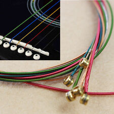 1 Set Lots 6pcs Steel Rainbow Colorful Color Strings  for Acoustic Guitar