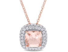 Amour Cz and Simulated Morganite Halo Necklace in Rose Plated Sterling Silver
