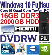 Windows 10 Quad Core i5 Gaming Tower PC - 16GB DDR3 - 2000GB HDD-DVD-RW-HDMI