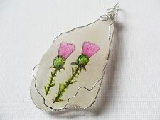 Scottish thistle handpainted Scotland sea glass wire wrapped PENDANT only