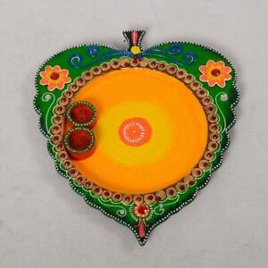Handmade Puja Thali For Holi Wooden Leaf Shape Designer Home Living Decor Item