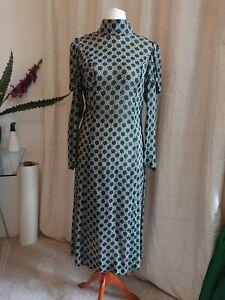Kleid Teekleid 40er Jahre Stil dunkelgrün Viscose 38
