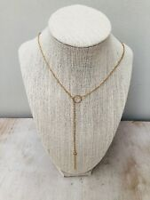 Golden Circle Bar Lariat Womens Necklace