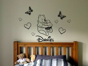 Winnie Pooh Personalised NAME Disney style Sticker wall art decal