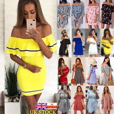 Women Summer Casual Off Shoulder Mini Dress Ladies Striped Short Sleeve Sundress