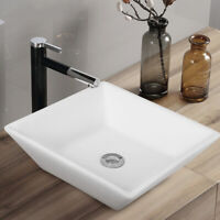 "16"" x 16"" Beveled Square Bathroom Ceramic Vessel Sink Art Basin w/ Pop-up Drain"