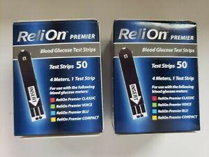 100 Ct. ( 2boxes @ 50 each)ReliOn Premier Blood Glucose Test Strips EXP 11/22 +