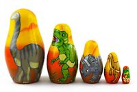 The Age of Dinosaurs Russian Stacking Wooden Nesting Dolls Matryoshka set 5 Pcs