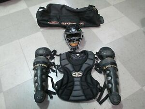 Used WILSON STEALTH Baseball Catcher's Gear Set Mask Shin Guards Chest Protector