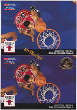 (2) 1993-94 HOOPS SCOOPS 5th ANNIVERSARY GOLD: SCOTTIE PIPPEN #HS4 PARALLEL LOT