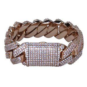 Iced Cuban Link Out Prong Bracelet VVS Diamond 19mm 18K Rose Gold Plated Rapper