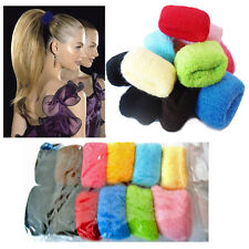 12 x Thick Hair Bobbles Bands Girl's High Ponytail Elastic Stretchy Styling Band