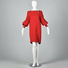 L 1980s Dress Adele Simpson Red Wool Shift Dress Bishop Sleeves 80s VTG Fall