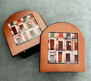 """Cherrywood Bookends w/ Frame for 4.25"""" Ceramic Tiles (not included)"""