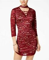 new Crystal Doll Juniors' Lace-Up Lace Choker Dress size 13  plum coral social