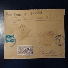 MERSON / SEMEUSE LETTRE CHARGE COVER CAD SAINT LAURENT MÉDOC 1908 POUR PAUILLAC