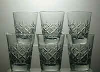 "CUT GLASS CRYSTAL WHISKY TUMBLERS SET OF 6 - 3"" TALL"